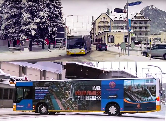 Residents of Davos, Switzerland travel on buses that have advertisements promoting Andhra Pradesh on their sides!