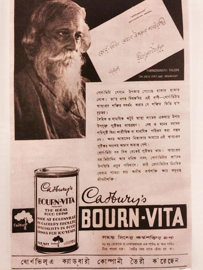Rabindranath Tagore once promoted Bournvita. Photo: Courtesy @deep_anchor/Twitter