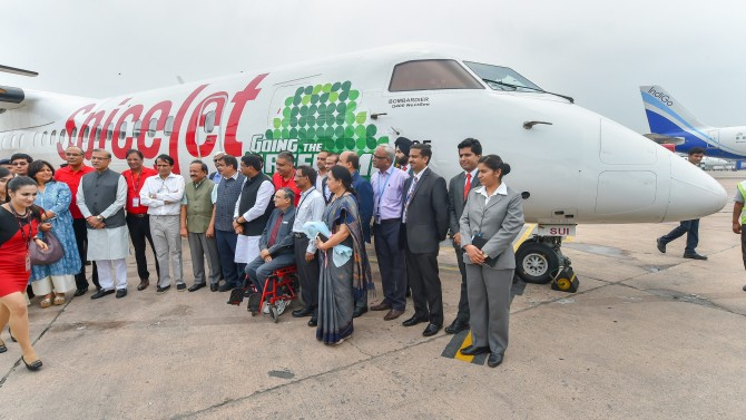 Spicejet flies into history books with India's first biojet