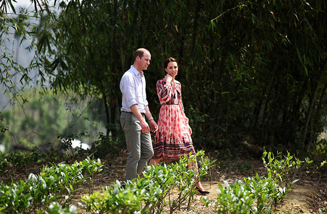 Britain's Prince William and his wife Catherine, the Duchess of Cambridge, visit a village tea garden in Kaziranga in the northeastern state of Assam, India. Photograph: Biju Boro/Reuters
