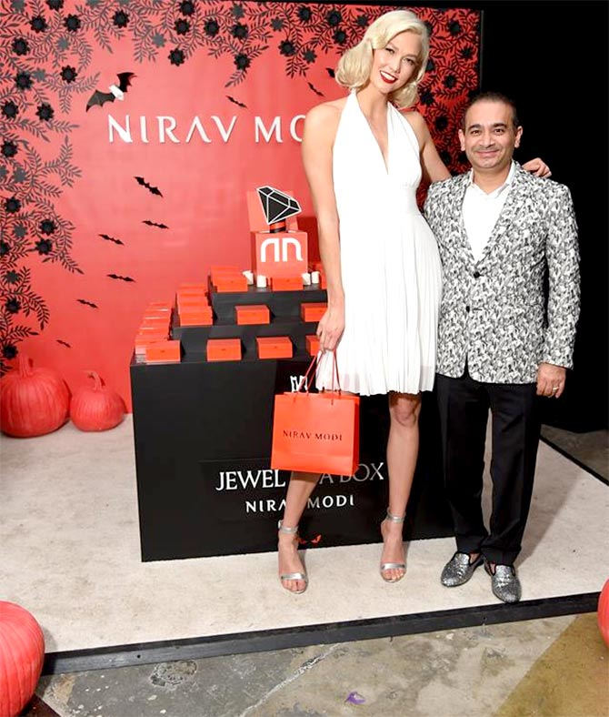 Jeweller Nirav Modi poses with American supermodel Karlie Kloss at a Halloween charity event in New York City in October 2017. Photograph: Courtesy Nirav Modi/Facebook