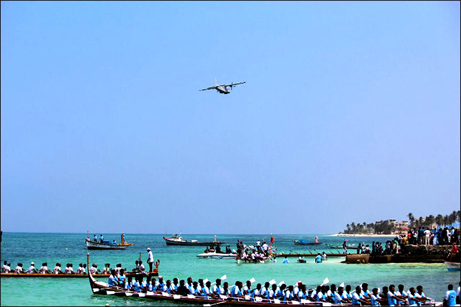 Indian Navy participates in the tourist festival, National Minicoy Festival. Photograph: Indian Navy/Wikimedia Commons.
