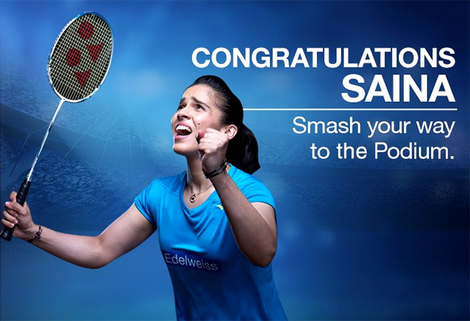 Support for badminton star Saina. Photograph: Courtesy @EdelweissFin/Twitter.