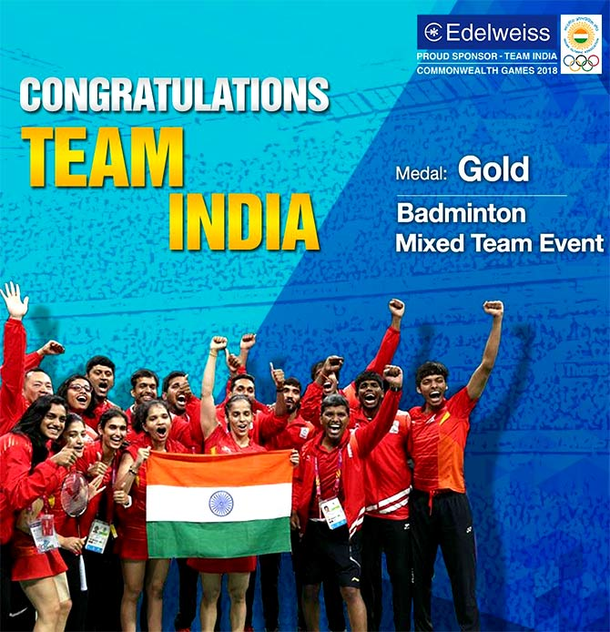 Honourng the badminton squad. Photograph: Courtesy @EdelweissFin/Twitter.