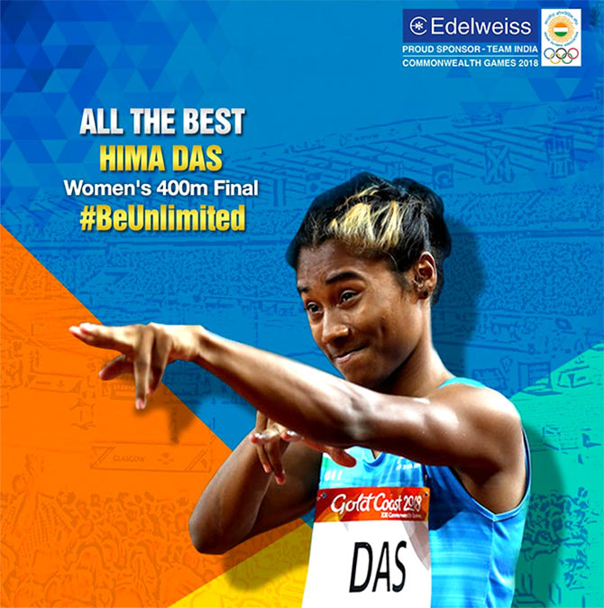 Flagging off India's best runner Hima Das. Photograph: Courtesy @EdelweissFin/Twitter.