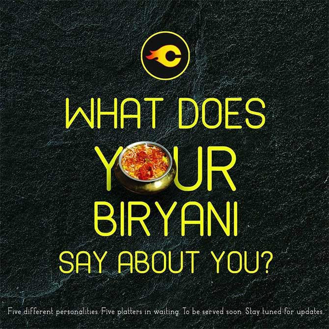 Charcoal Eats promotes biryani personalities. Photograph: Courtesy @CharcoalEats.
