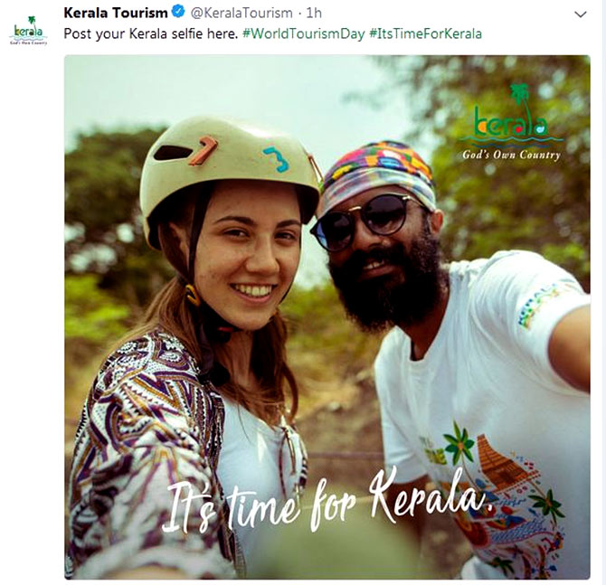 Kerala Tourism's selfie campaign to promote visibility of tourists in the state. Photograph: Courtesy @KeralaToruism/Twitter.