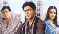 Saif Ali Khan, Shah Rukh Khan and Preity Zinta in Kal Ho Naa Ho