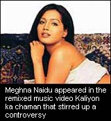 Meghna Naidu appeared in the remixed music video Kaliyon ka chaman that stirred up a controversy