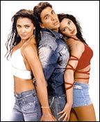 Lara Dutta, Akshay Kumar and Priyanka Chopra in Andaaz