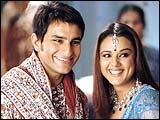 Saif Ali Khan and Preity Zinta in KHNH
