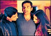 Ajay Jadeja, Suniel Shetty and Celina Jaitley in Khel