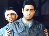 Rohit Shetty with Abhishek Bachchan
