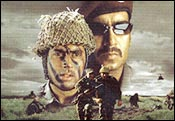 Abhishek Bachchan and Ajay Devgan in Zameen