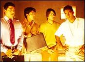 Aftab Shivdasani, Ritesh Deshmukh, Vivek Oberoi and Ajay Devgan in Masti