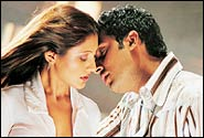 Rimii and Abhishek Bachchan in Dhoom