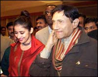 Manisha Koirala and Dev Anand