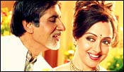 Amitabh Bachchan and Hema Malini in Baghban