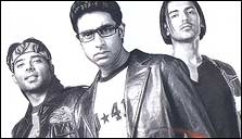 Uday Chopra, Abhishek Bachchan and John Abraham in Dhoom
