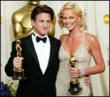 Sean Penn and Charlize Theron at the Oscars