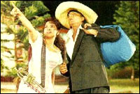 Juhi Chawla and Shah Rukh Khan in Kabhi Haan Kabhi Naa
