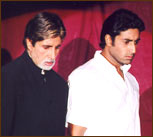 Amitabh and Abhishek Bachchan on the launch of Ranveer