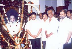 Ram Kumar [second from left] with Rajnikant [third from left]