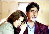 Dimple Kapadia and Amitabh Bachchan in Hum Kaun Hai