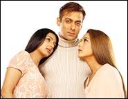 Bhoomika Chawla, Salman Khan and Preity Zinta in DNJAK