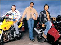 Uday, Abhishek, John in Dhoom