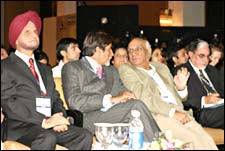 FICCI President Onkar S Kanwar, Amitabh Bachchan, Yash Chopra and Chairman of Zee Telefilms Ltd Subhash Chandra