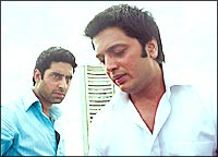 Abhishek Bachchan and Riteish Deshmukh in Bluffmaster