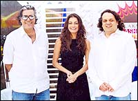 Dia Mirza with Abu Jani and Sandeep Khosla
