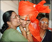 Abhijeet with his proud mother