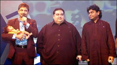 Ravindra Upadhyay, Super Singer, with Adnan Sami and A R Rahman