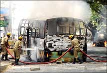 Bus set on fire