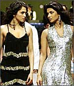 Isha Koppiker and Priyanka Chopra in Don