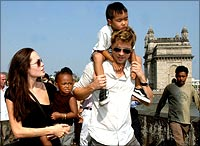 Angelina Jolie with Brad Pitt and her children