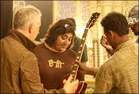 Gurinder Chadha on the sets of her commercial