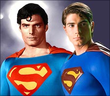 Christopher Reeve and Brandon Routh, as Superman