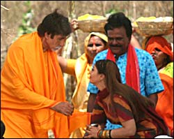 Amitabh Bachchan with Nagma