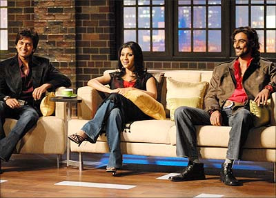 Ritesh Dehmukh, Konkona Sensharma and Kunal Kapoor on the sets of Karan Kapoor