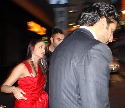 Aishwarya Rai and Abhishek Bachchan in London for the Provoked premiere