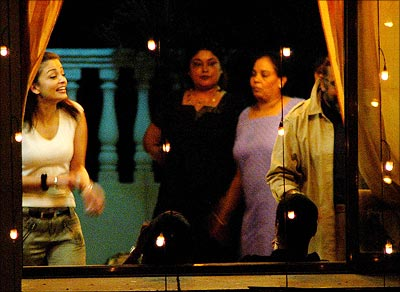 Aishwarya Rai practises dance steps at a neighbour's house