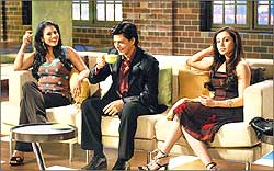 Kajol, Shah Rukh Khan, and Rani Mukerji on the sets of Koffee with Karan