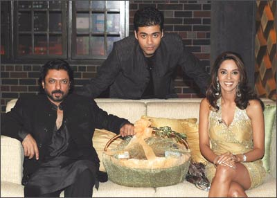 Sanjay Leela Bhansali, Karan Johar and Mallika Sherawat on the sets of Koffee With Karan