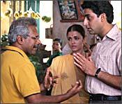 Mani Ratnam with Aishwarya Rai and Abhishek Bachchan