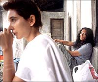 Lisa Ray and Deepa Mehta on the sets of Water