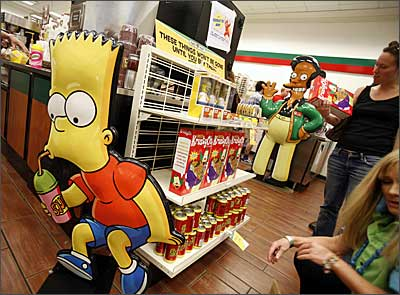 A shot from the 7-11 store in Times Square, New York, currently converted into a Kwik-E-Mart for The Simpsons Movie.