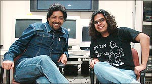 Director Raja Sen, left, with <EM>Rediff</EM>>'s Raja Sen